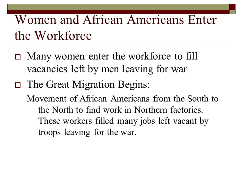 Women and African Americans Enter the Workforce
