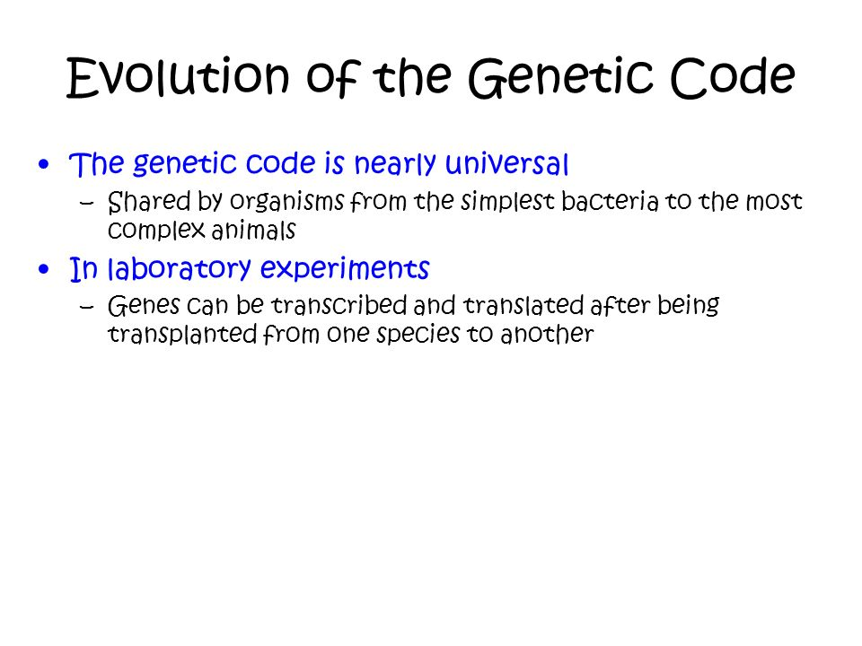 Evolution of the Genetic Code
