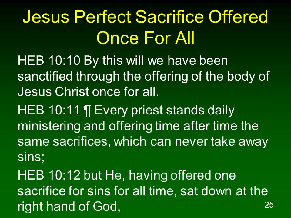 Jesus Perfect Sacrifice Offered Once For All