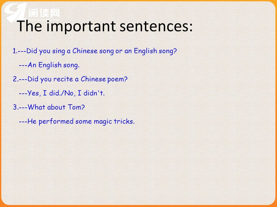 The important sentences: