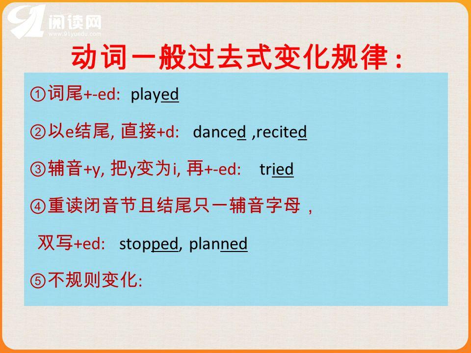 动词一般过去式变化规律 : ①词尾+-ed: played ②以e结尾, 直接+d: danced ,recited