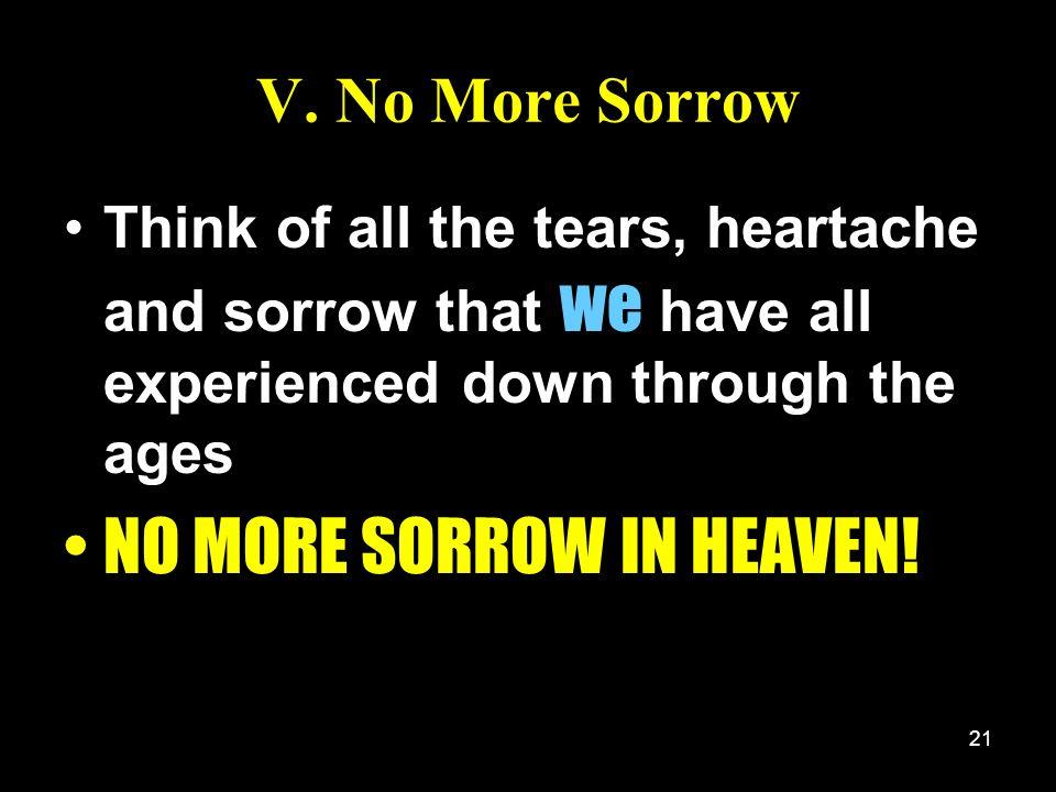 NO MORE SORROW IN HEAVEN!