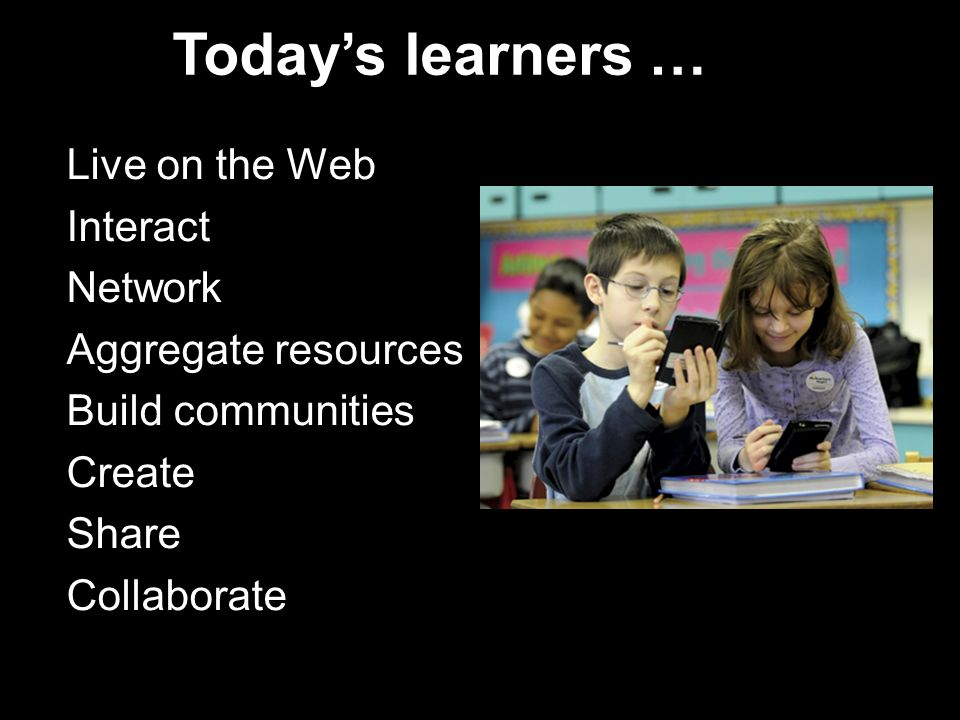 Today's learners … Live on the Web Interact Network