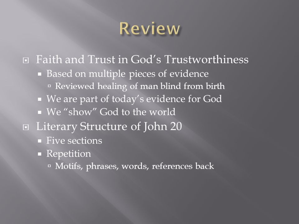 Review Faith and Trust in God's Trustworthiness
