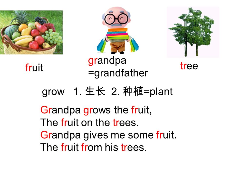 grandpa =grandfather. tree. fruit. grow 1. 生长 2. 种植=plant. Grandpa grows the fruit, The fruit on the trees.