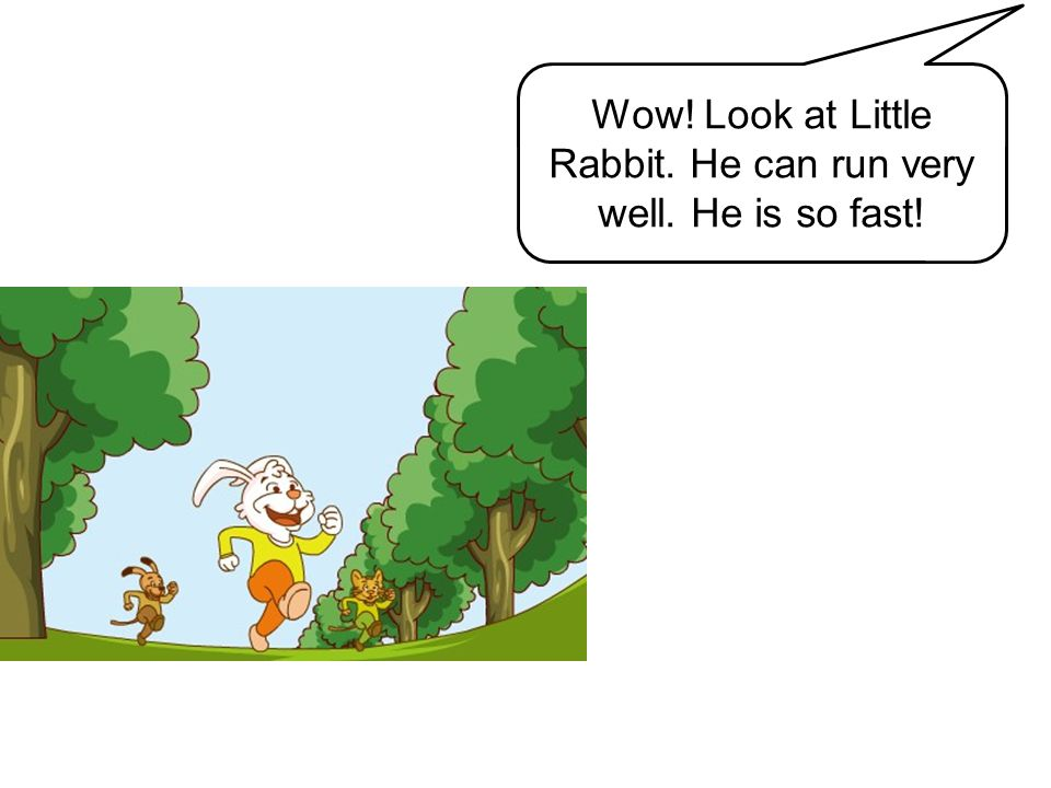 Wow! Look at Little Rabbit. He can run very well. He is so fast!