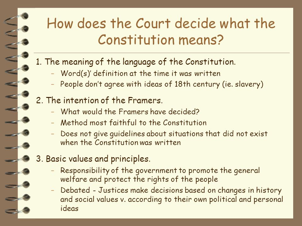 How does the Court decide what the Constitution means