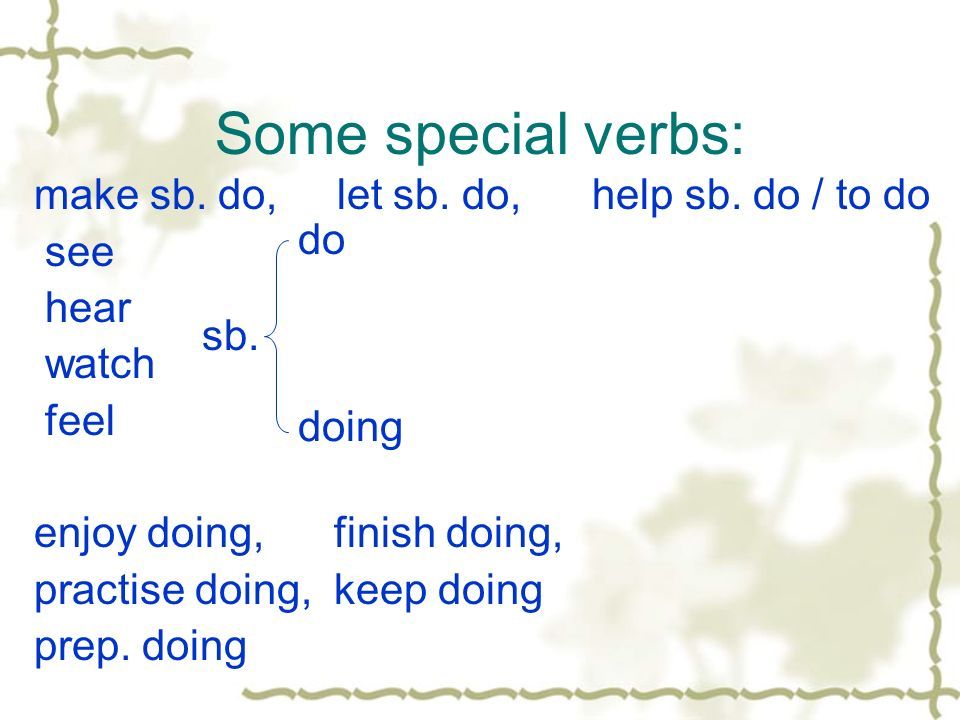 Some special verbs: make sb. do, let sb. do, help sb. do / to do see