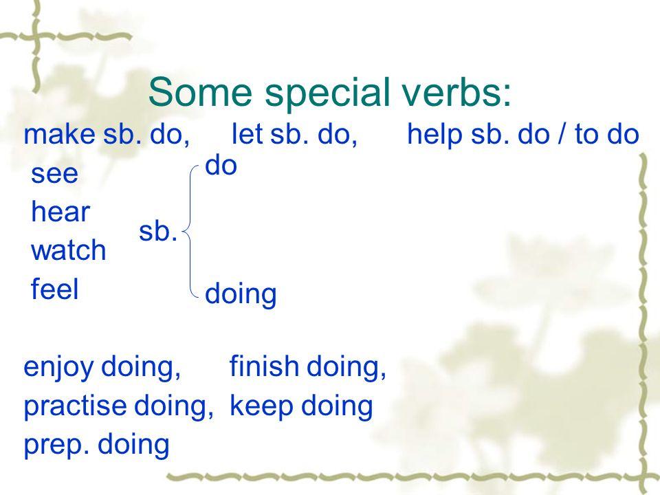 Some special verbs: make sb. do, let sb. do, help sb. do / to do see