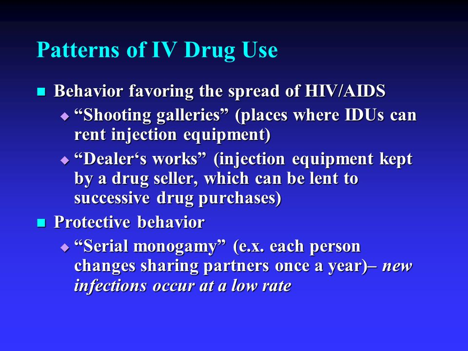 Patterns of IV Drug Use Behavior favoring the spread of HIV/AIDS