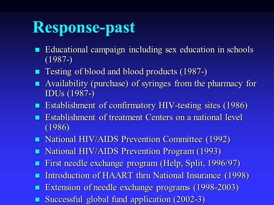 Response-past Educational campaign including sex education in schools (1987-) Testing of blood and blood products (1987-)