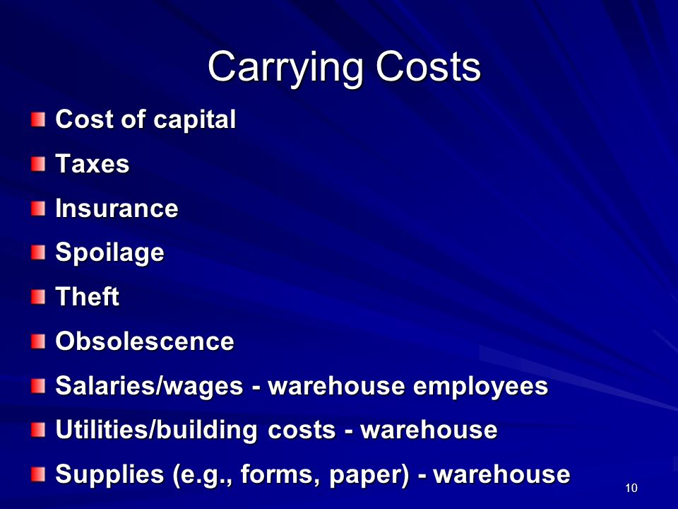 Carrying Costs Cost of capital Taxes Insurance Spoilage Theft