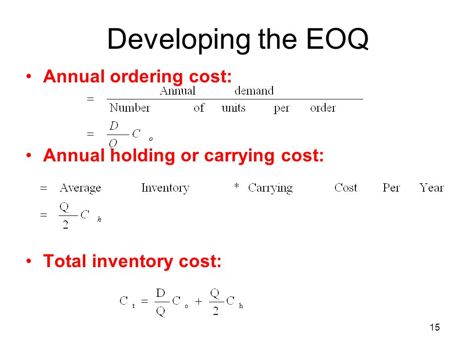 Developing the EOQ Annual ordering cost: