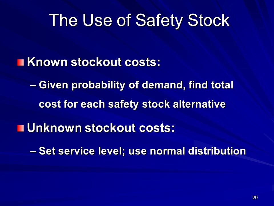 The Use of Safety Stock Known stockout costs: Unknown stockout costs: