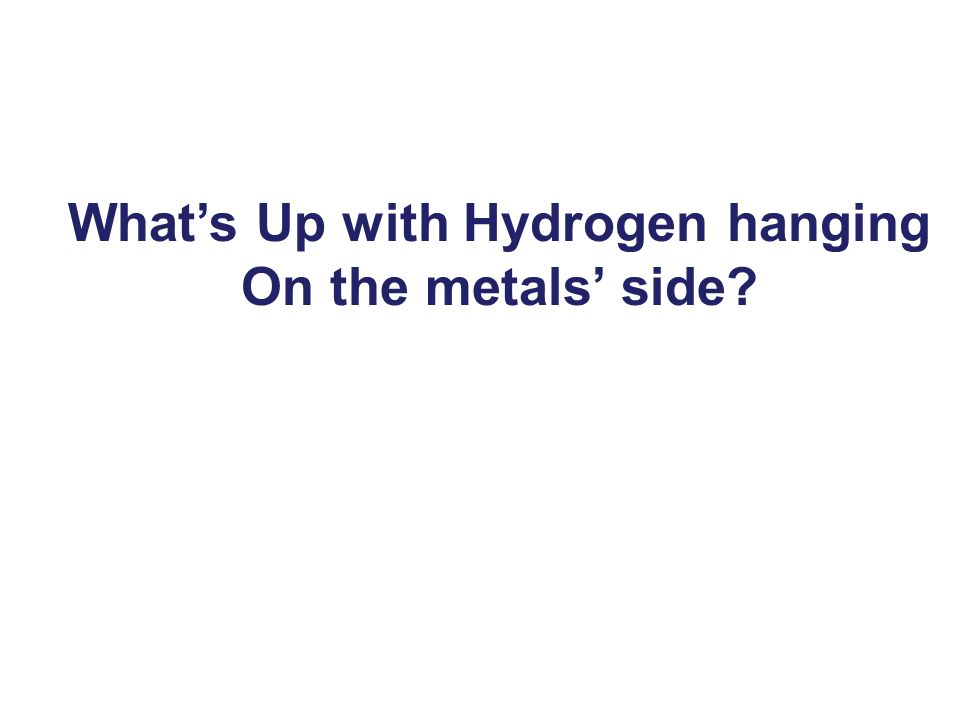 What's Up with Hydrogen hanging