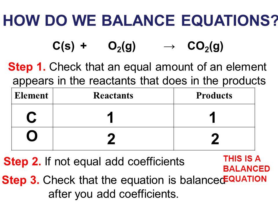 HOW DO WE BALANCE EQUATIONS