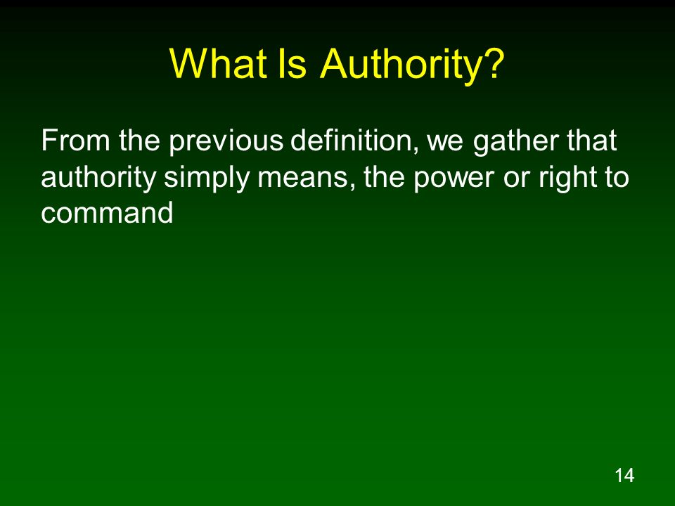 What Is Authority.