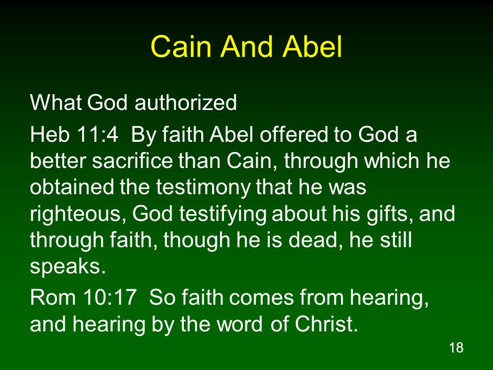 Cain And Abel What God authorized