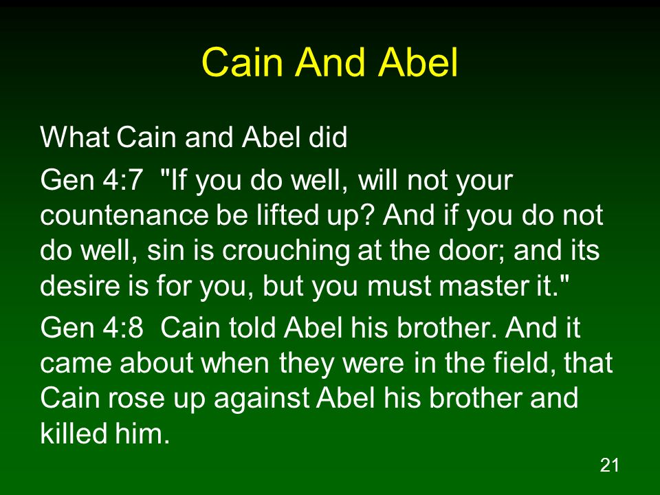 Cain And Abel What Cain and Abel did