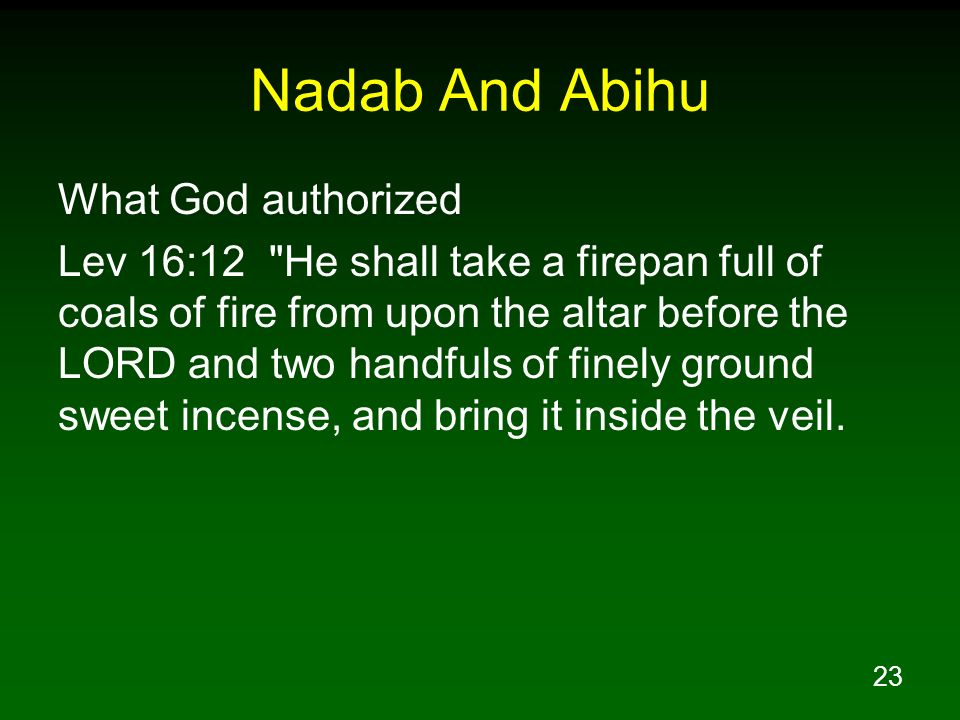 Nadab And Abihu What God authorized