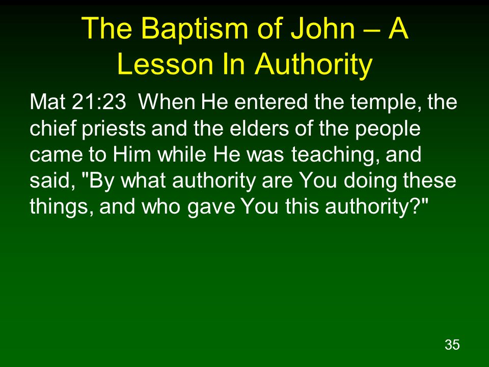 The Baptism of John – A Lesson In Authority