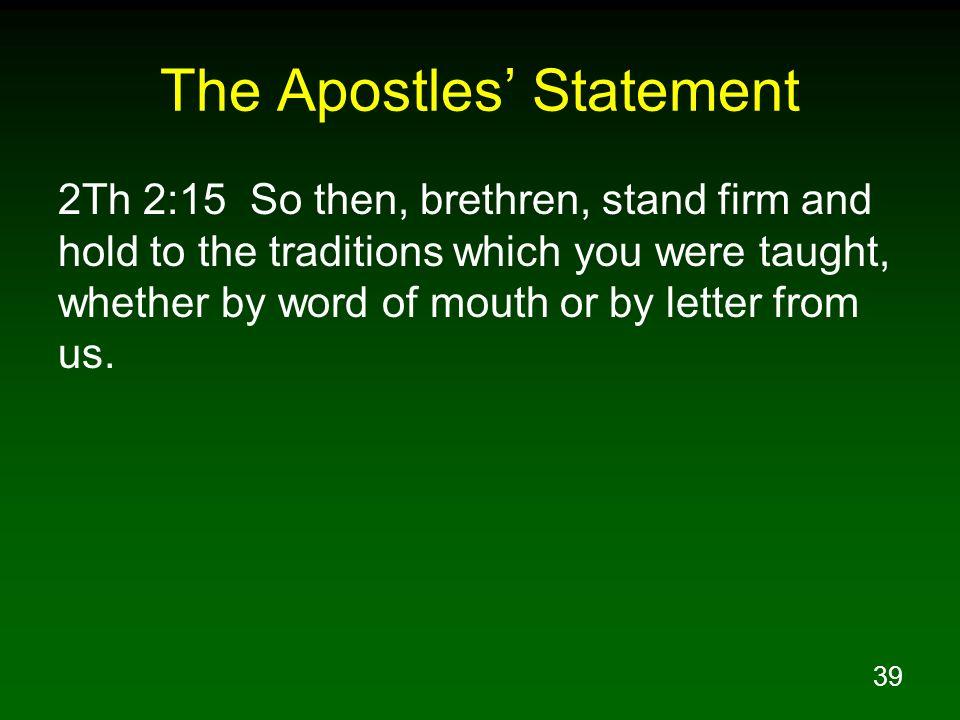 The Apostles' Statement