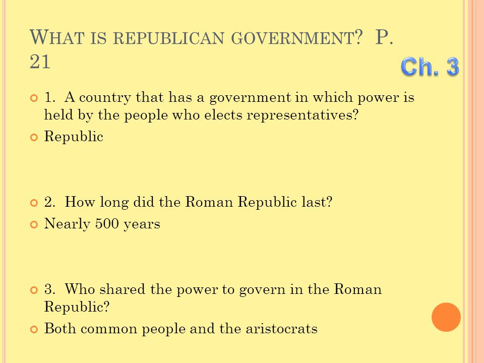 What is republican government P. 21