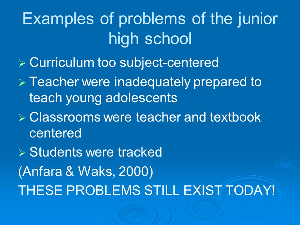 Examples of problems of the junior high school