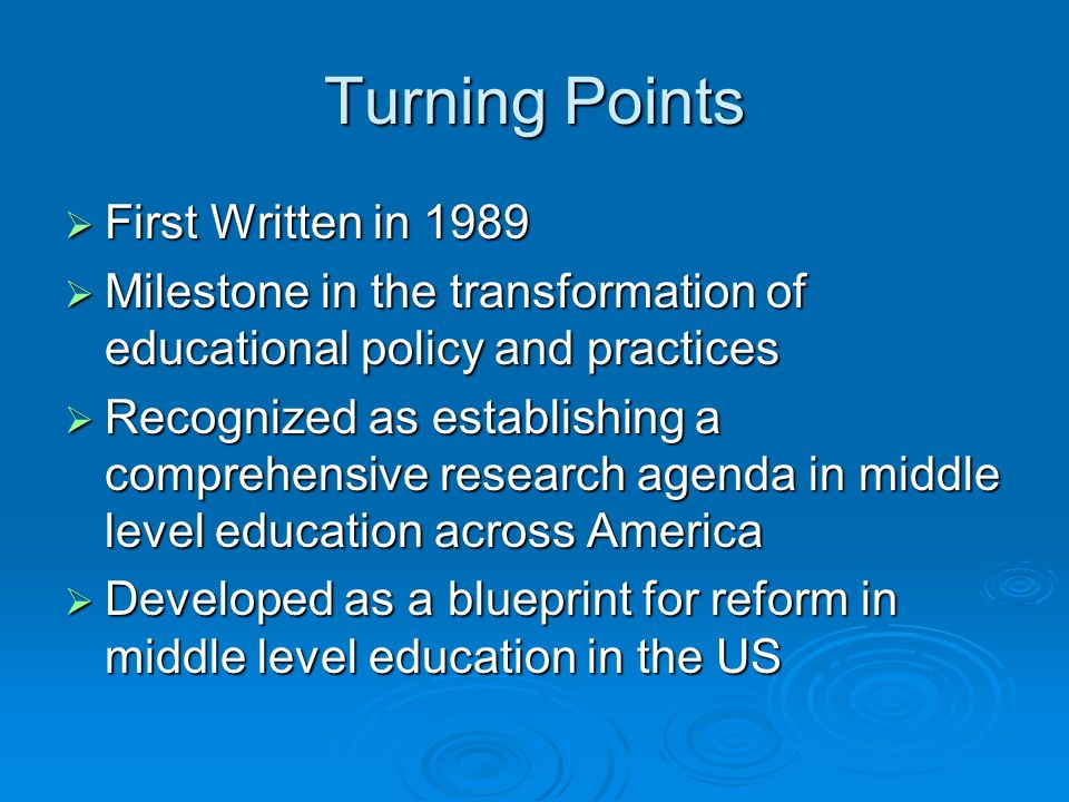 Turning Points First Written in 1989