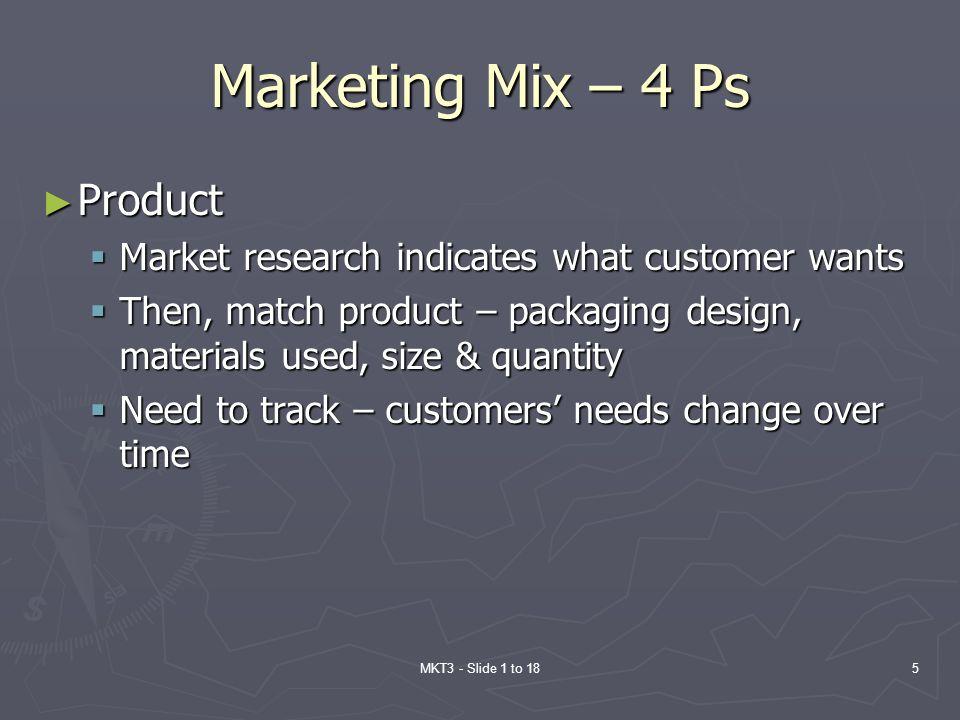 Marketing Mix – 4 Ps Product