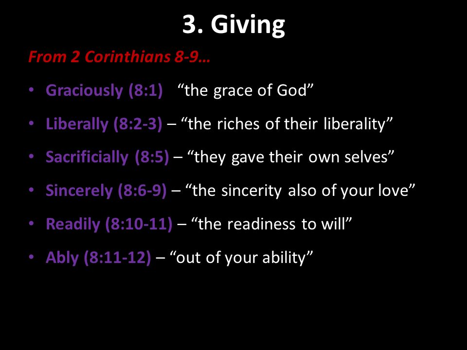 3. Giving Contribution Basics From 2 Corinthians 8-9…