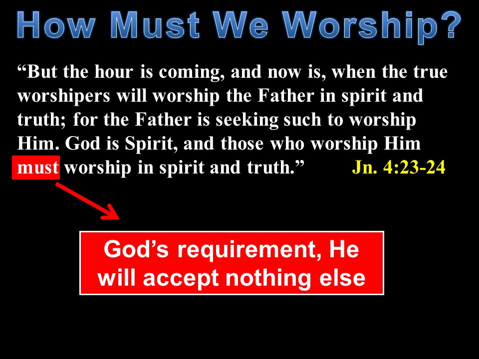God's requirement, He will accept nothing else