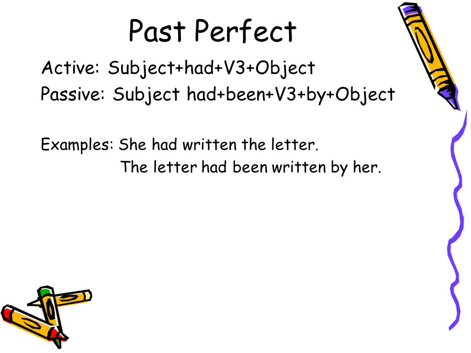 Past Perfect Active: Subject+had+V3+Object