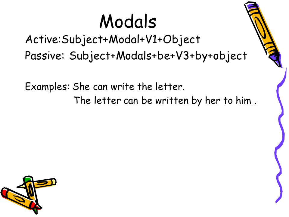 Modals Active:Subject+Modal+V1+Object