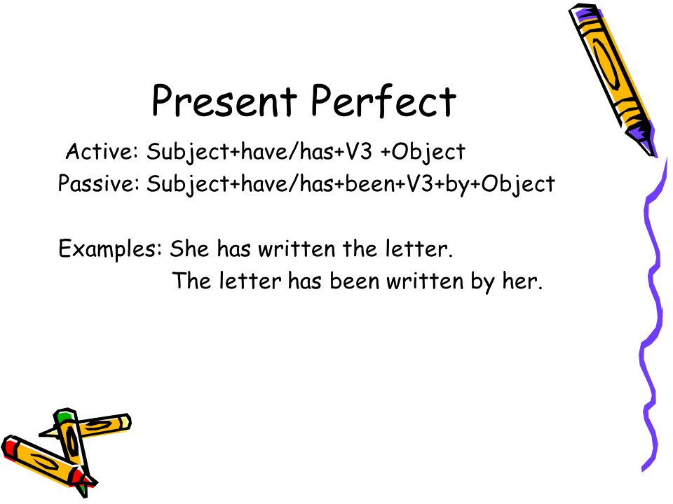 Present Perfect Active: Subject+have/has+V3 +Object