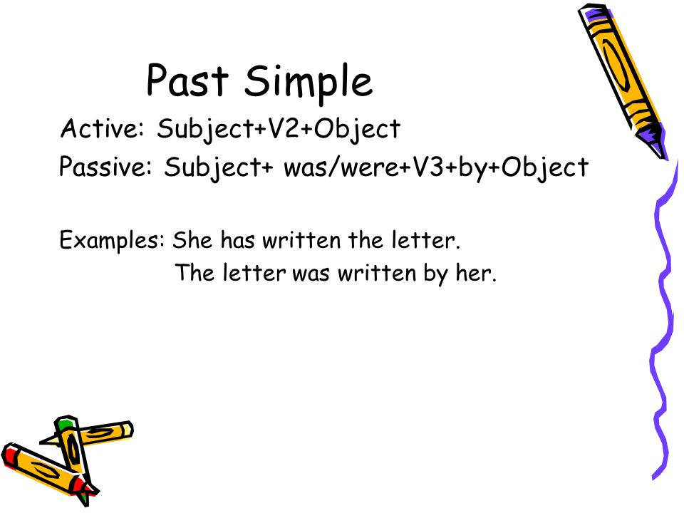 Past Simple Active: Subject+V2+Object