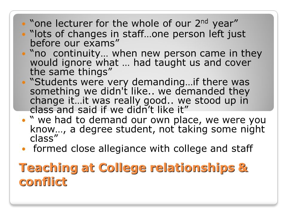 Teaching at College relationships & conflict
