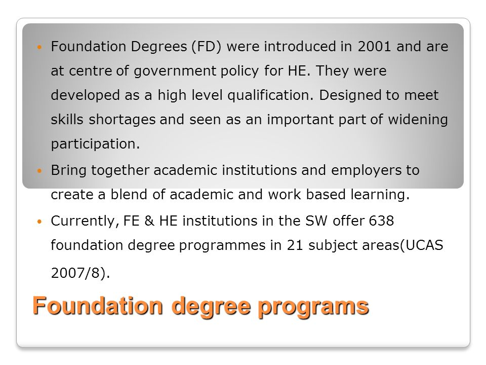 Foundation degree programs