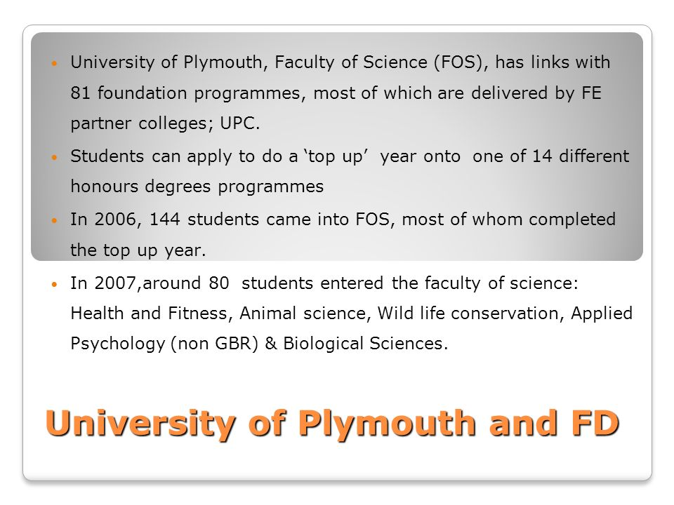 University of Plymouth and FD