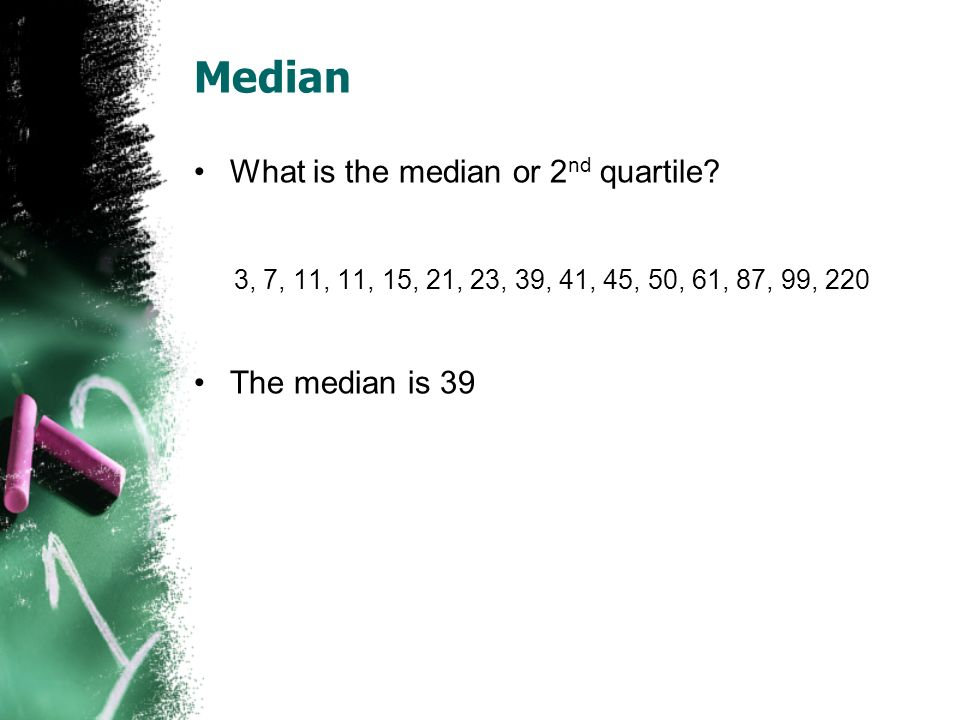 Median What is the median or 2nd quartile The median is 39