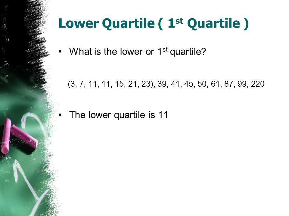 Lower Quartile ( 1st Quartile )