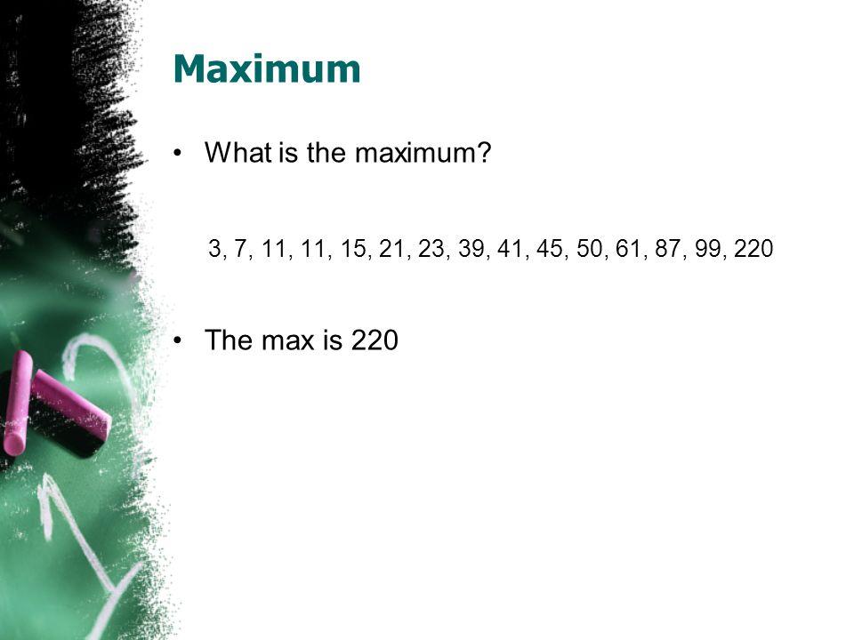 Maximum What is the maximum The max is 220
