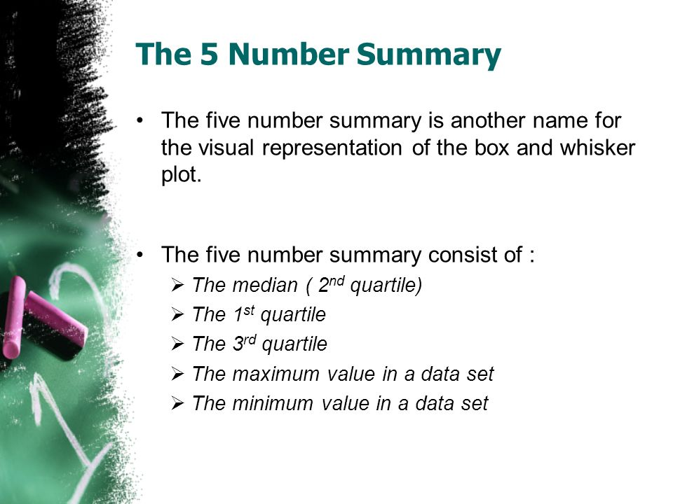 The 5 Number Summary The five number summary is another name for the visual representation of the box and whisker plot.