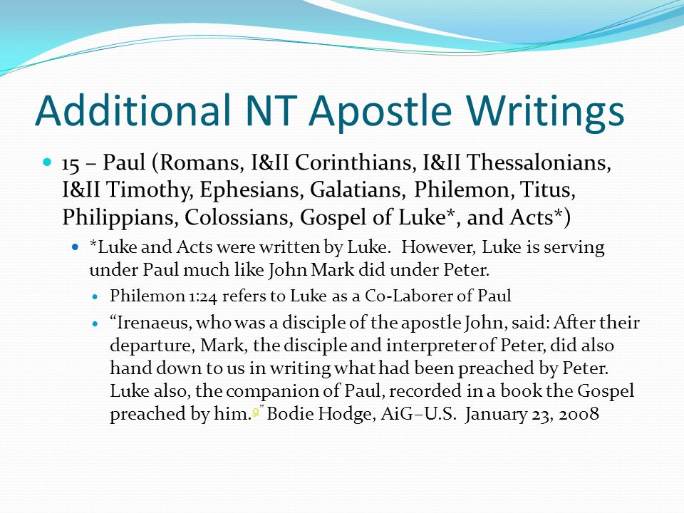 Additional NT Apostle Writings