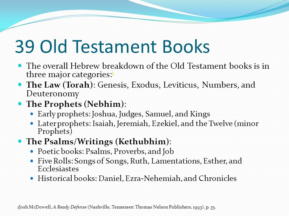 39 Old Testament Books The overall Hebrew breakdown of the Old Testament books is in three major categories:1.