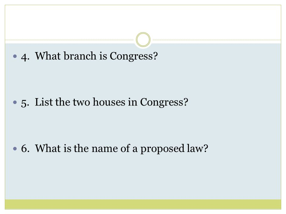 4. What branch is Congress