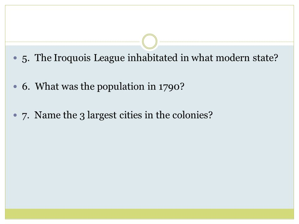 5. The Iroquois League inhabitated in what modern state