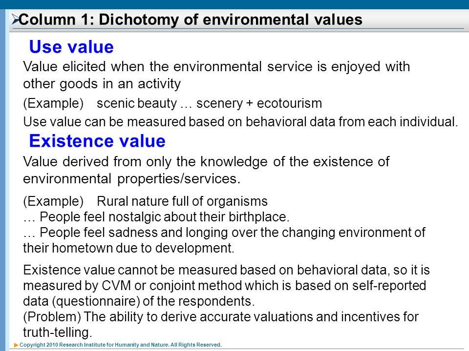 Column 1: Dichotomy of environmental values