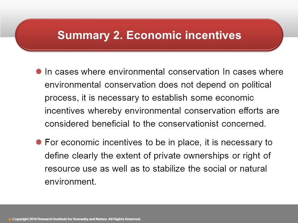 Summary 2. Economic incentives