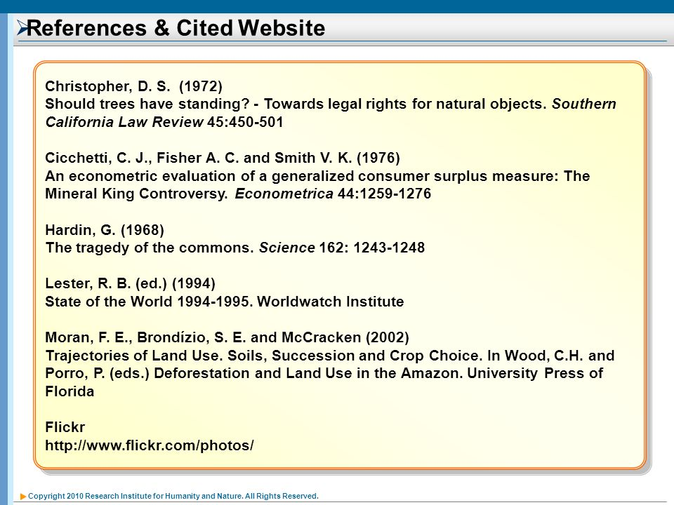 References & Cited Website